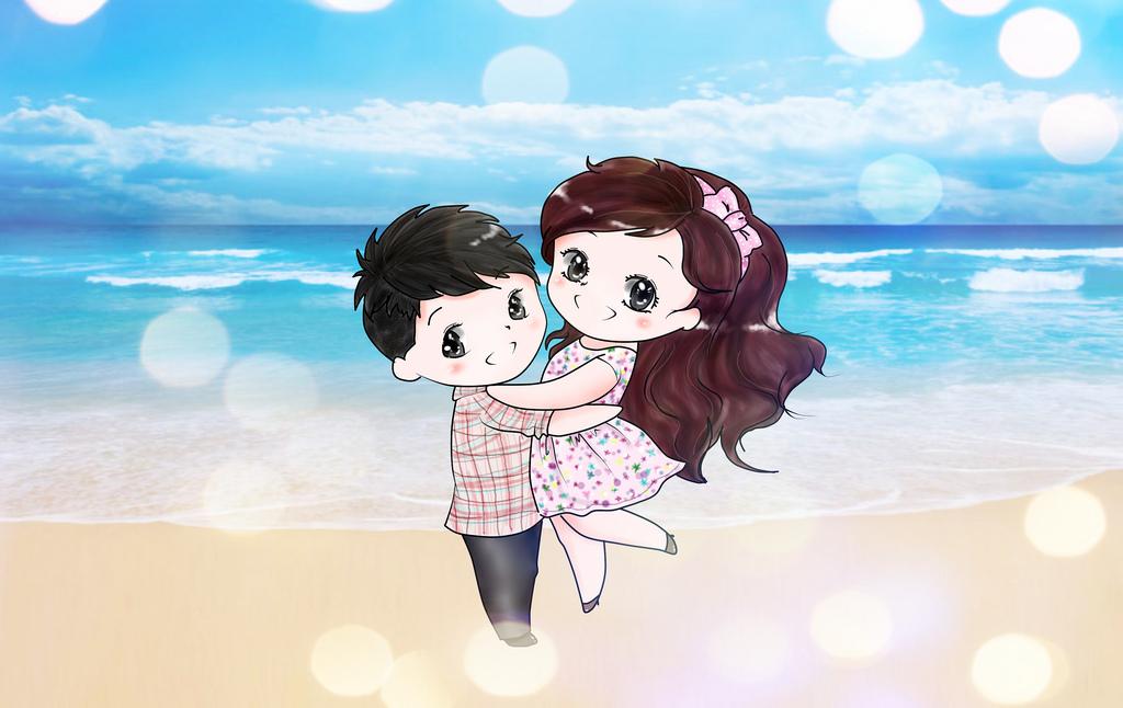 Ảnh avatar cặp đôi trên bãi biển