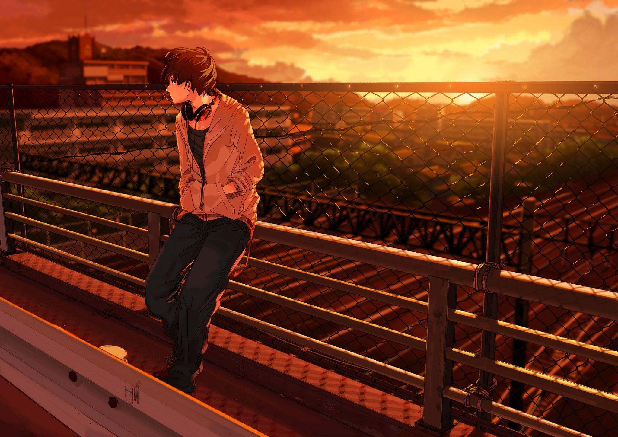 Hình ảnh đại diện facebook chàng trai anime mang tâm trạng buồn