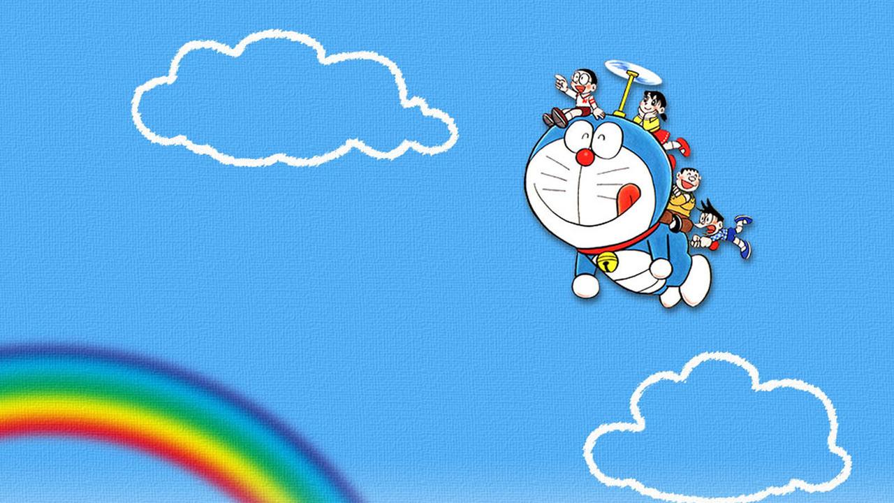 Hình ảnh doremon cưỡi mây cùng nhóm bạn