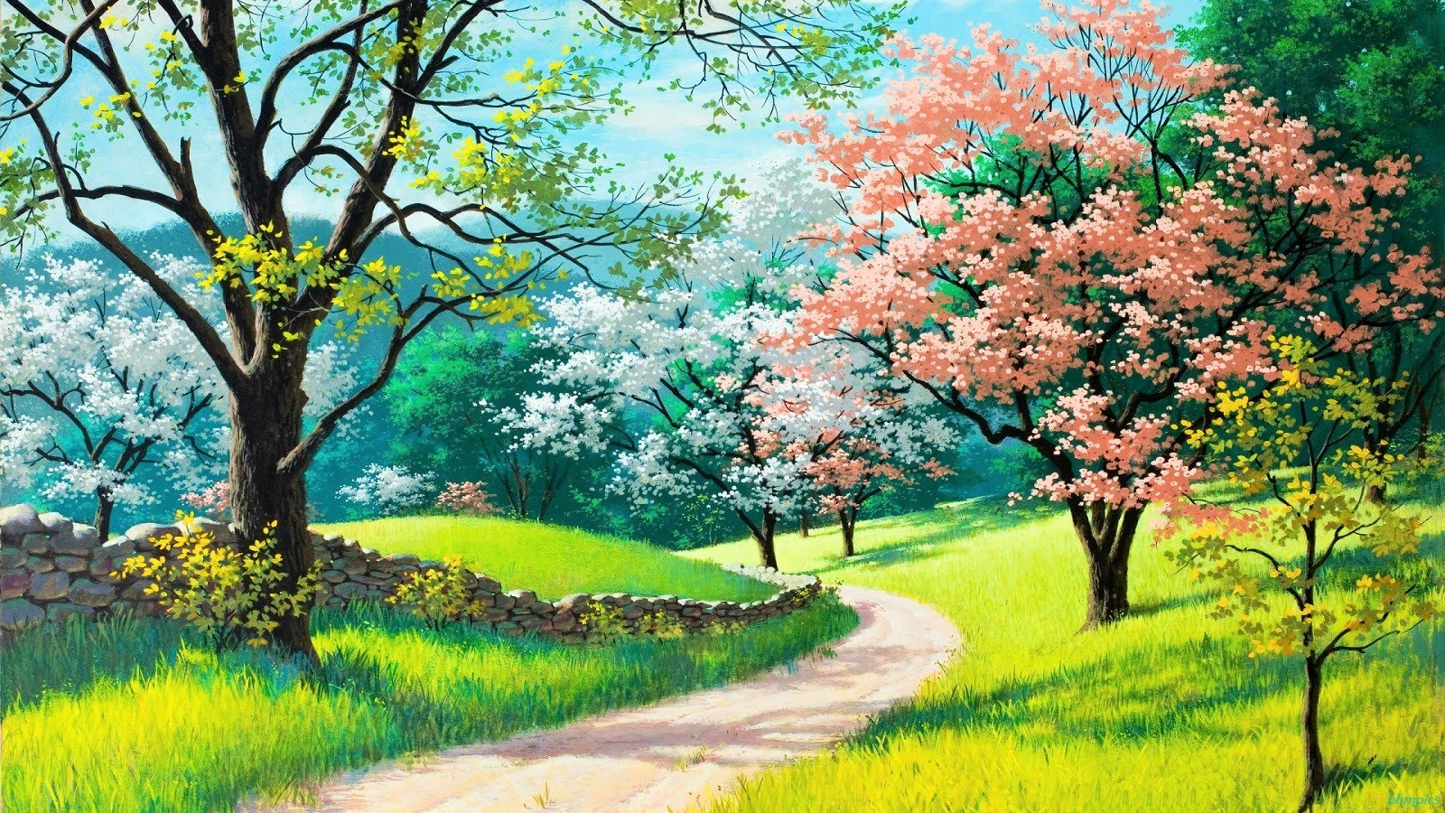 Hình ảnh tranh vẽ về mùa xuân đẹp
