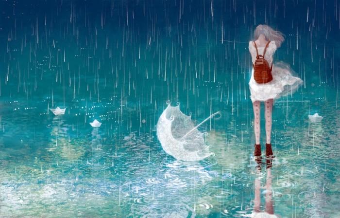Ảnh thất tình cô gái khóc dưới mưa