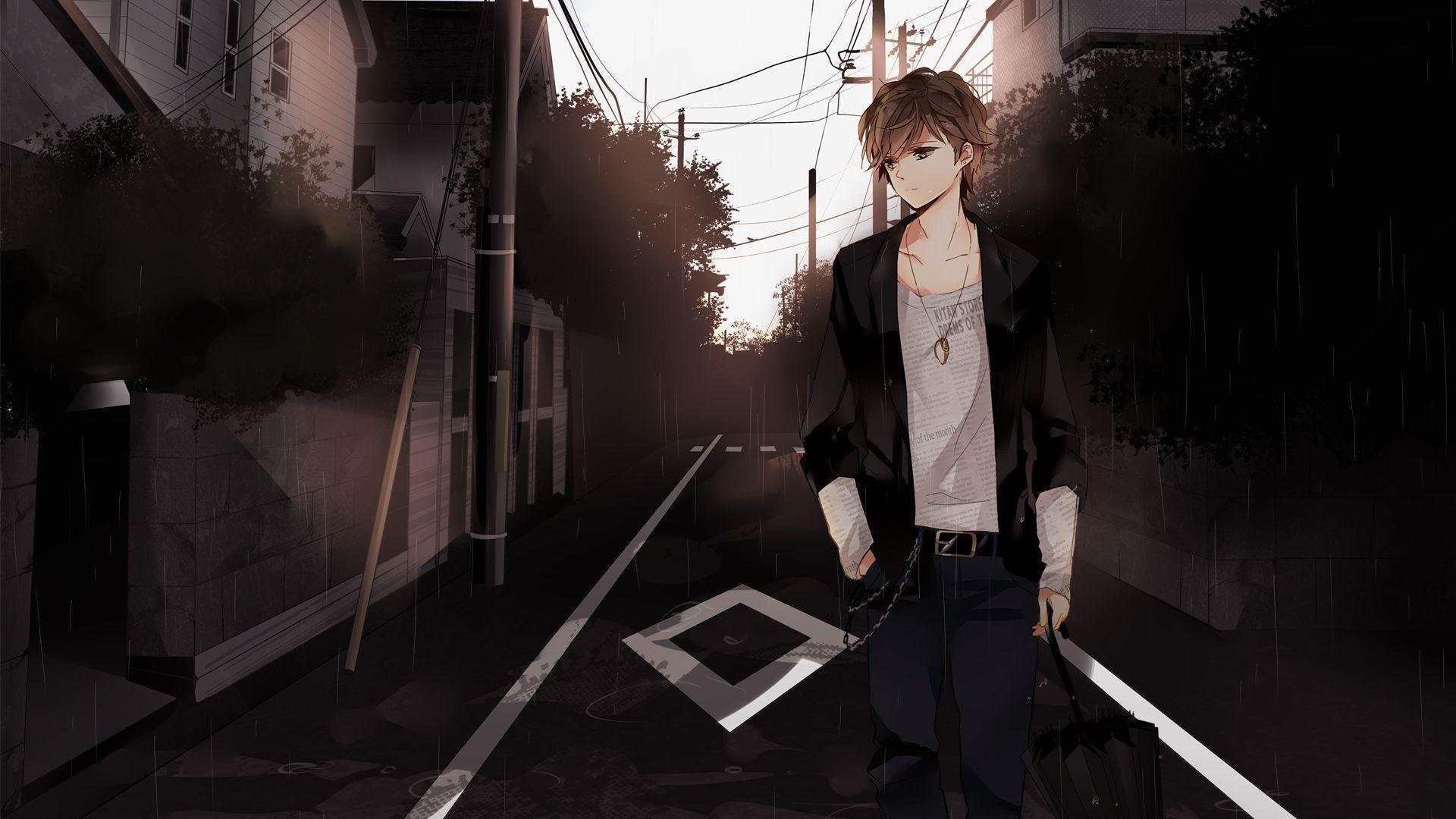 Hình nền chàng trai anime buồn