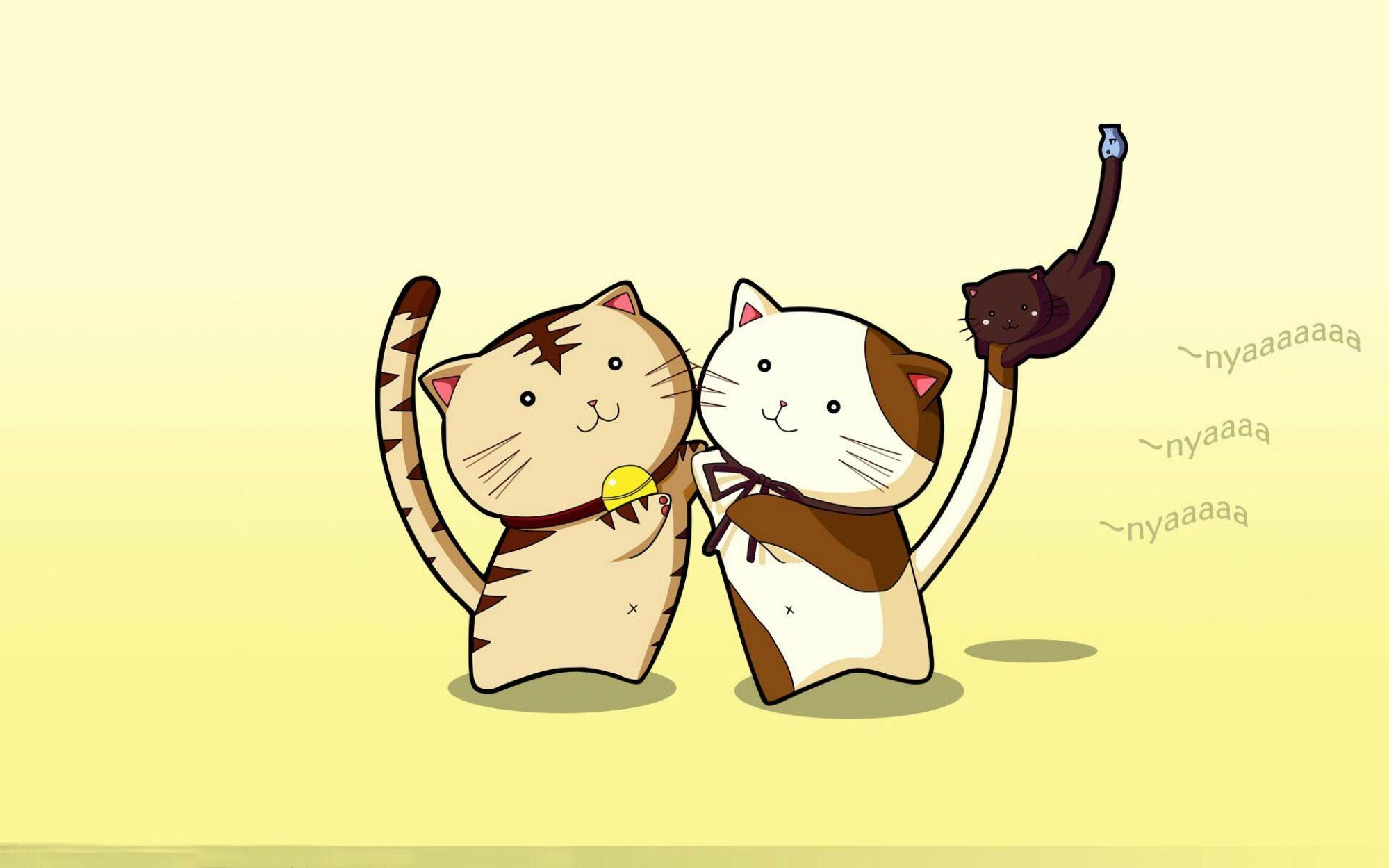Hình nền máy tính hai chú mèo anime cực đẹp