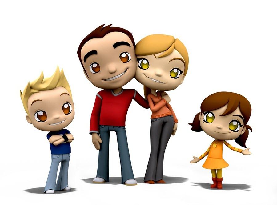 Hình ảnh gia đình hoạt hình