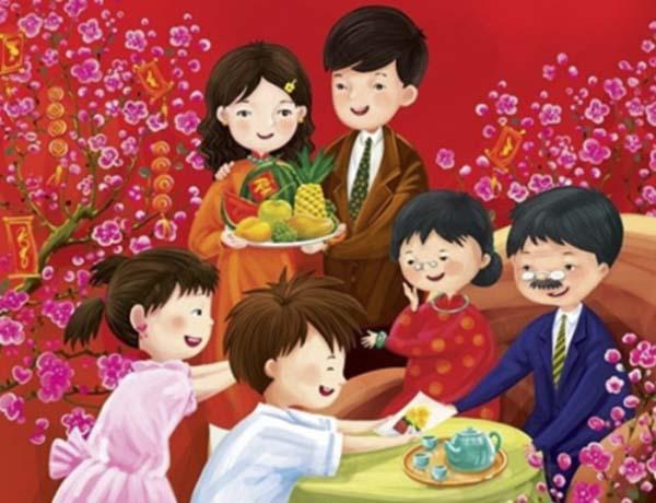 Hình ảnh gia đình ngày tết