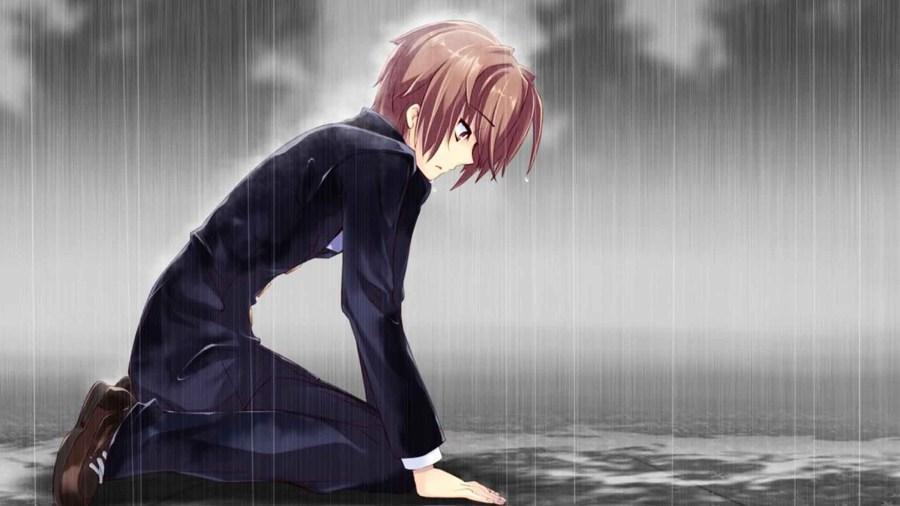 Ảnh anime boy buồn dưới mưa