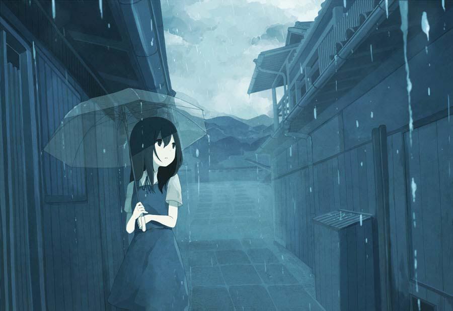 Ảnh anime buồn dưới mưa