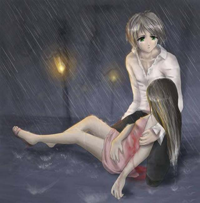 Ảnh đôi anime buồn dưới mưa
