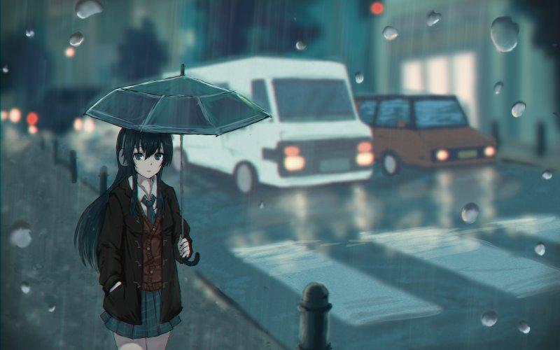 Hình ảnh anime girl buồn dưới mưa