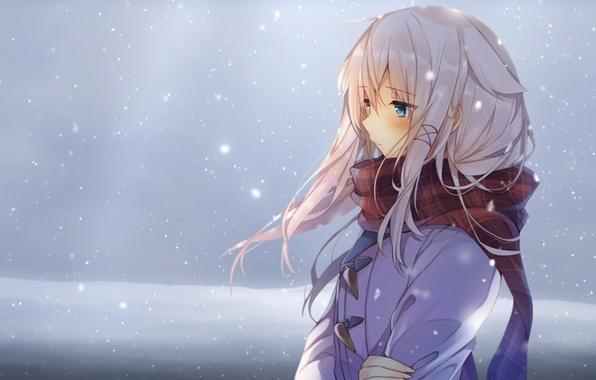 Hình ảnh anime girl buồn tuyết rơi