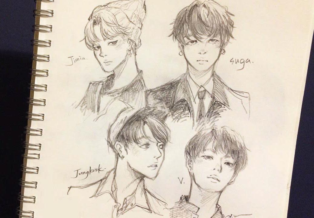Ảnh vẽ BTS đẹp