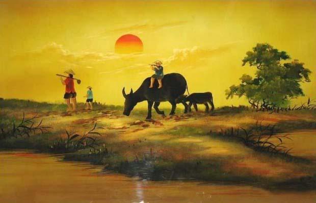 Ảnh vẽ con trâu và làng quê