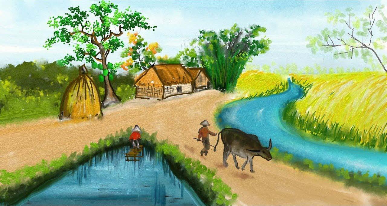Ảnh vẽ làng quê