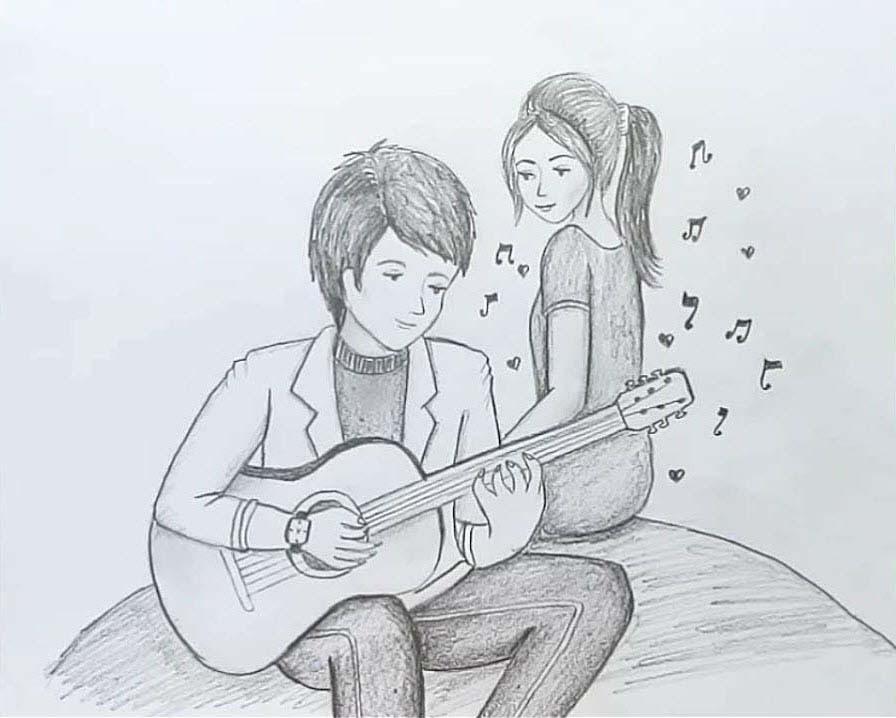 Hình ảnh vẽ cặp đôi dễ thương