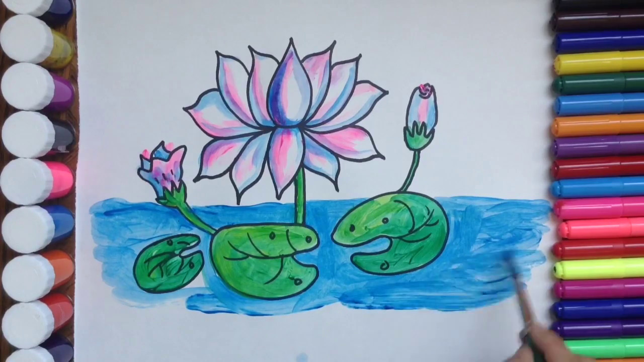 Hình ảnh vẽ hoa sen đơn giản mà đẹp