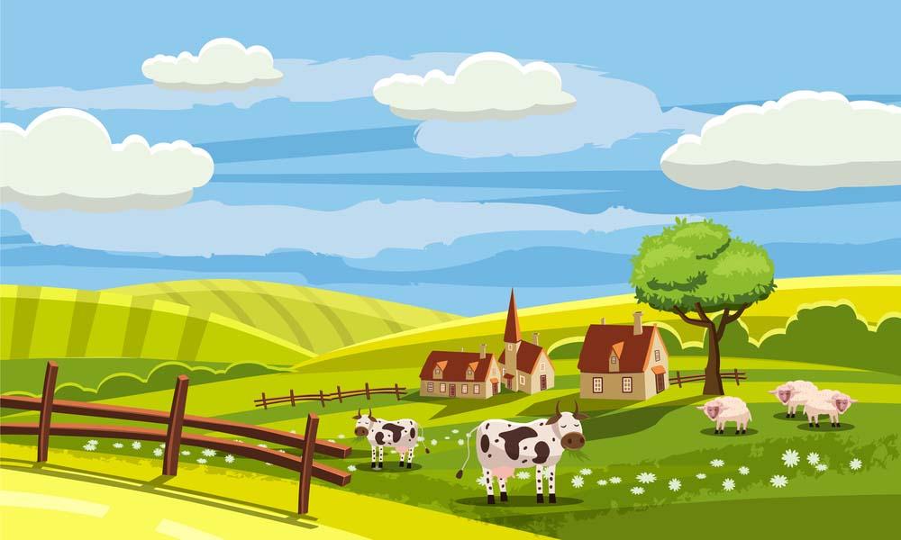 Hình ảnh hoạt hình cánh đồng đẹp