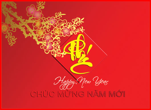 Thiệp chúc mừng năm mới chữ PHÚC đẹp