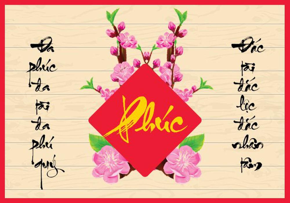 Thiệp chúc tết chữ PHÚC đẹp