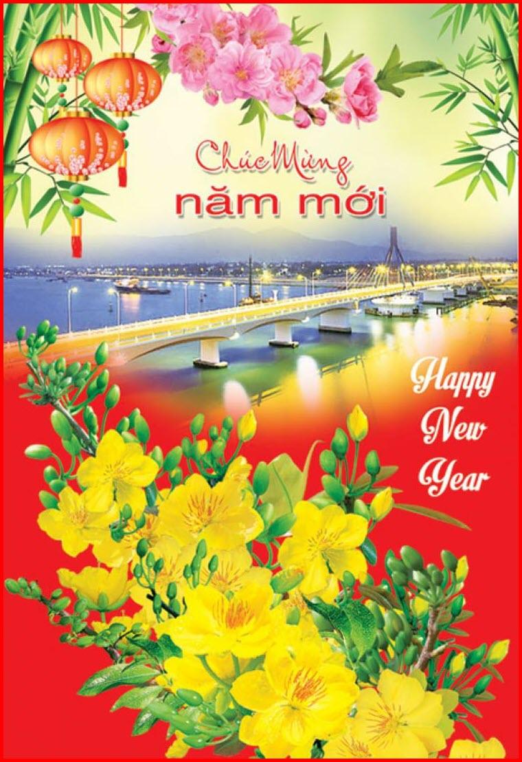 Thiệp chúc tết hoa mai