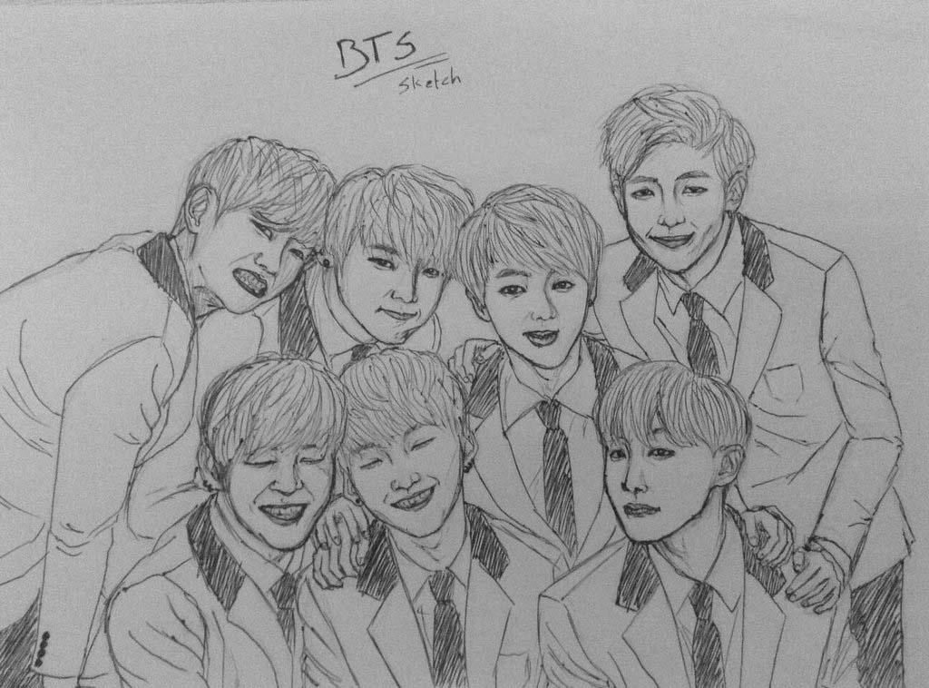 Hình ảnh vẽ nhóm BTS đẹp