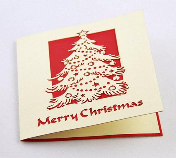 Thiệp giáng sinh với cây thông tuyết đẹp
