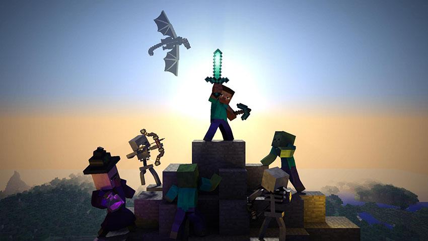 Hình ảnh chiến đấu của các nhân vật Minecraft ấn tượng