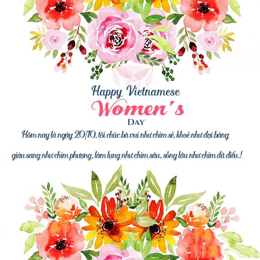 Thiệp chúc mừng bạn bè đồng nghiệp ngày phụ nữ Việt nam 20-10