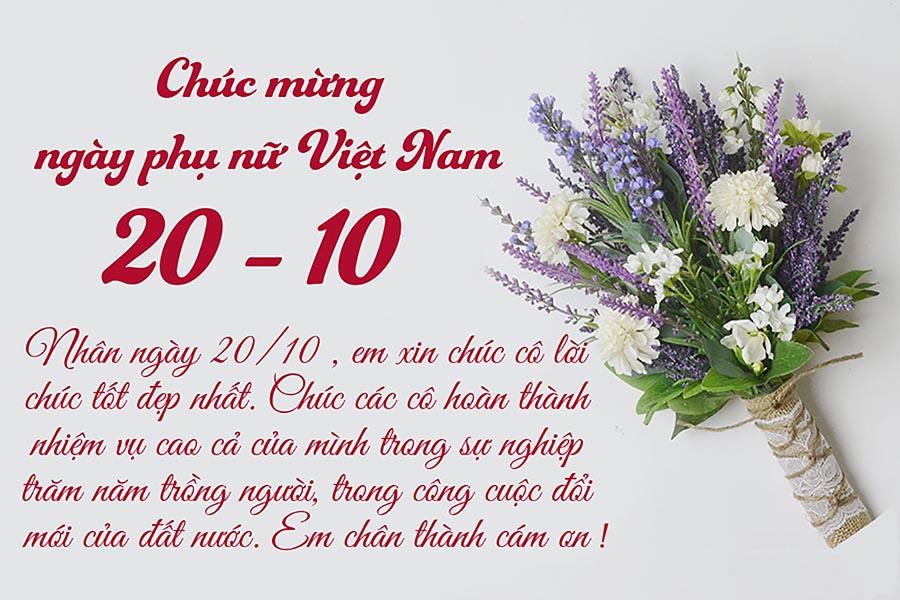 Thiệp tặng cô giáo nhân ngày 20-10