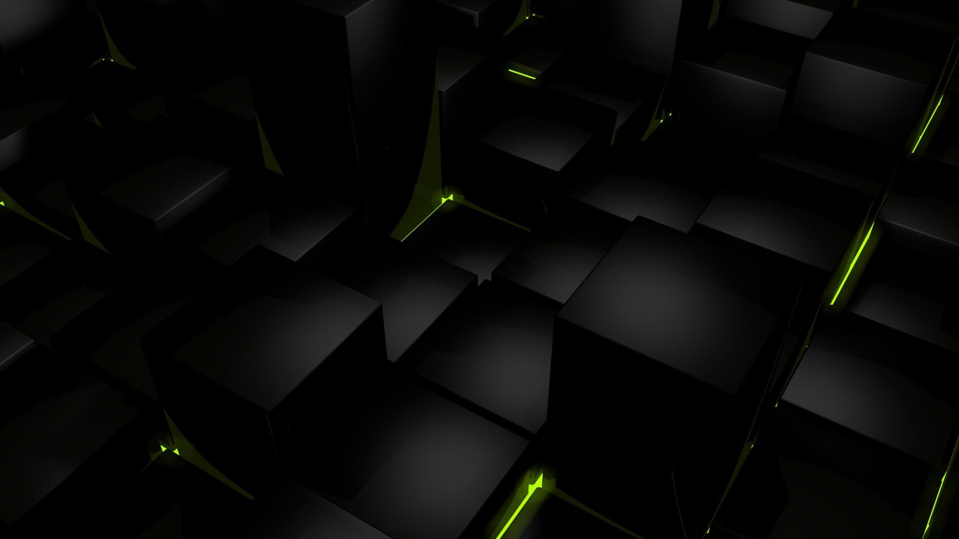 3D black cube wallpaper
