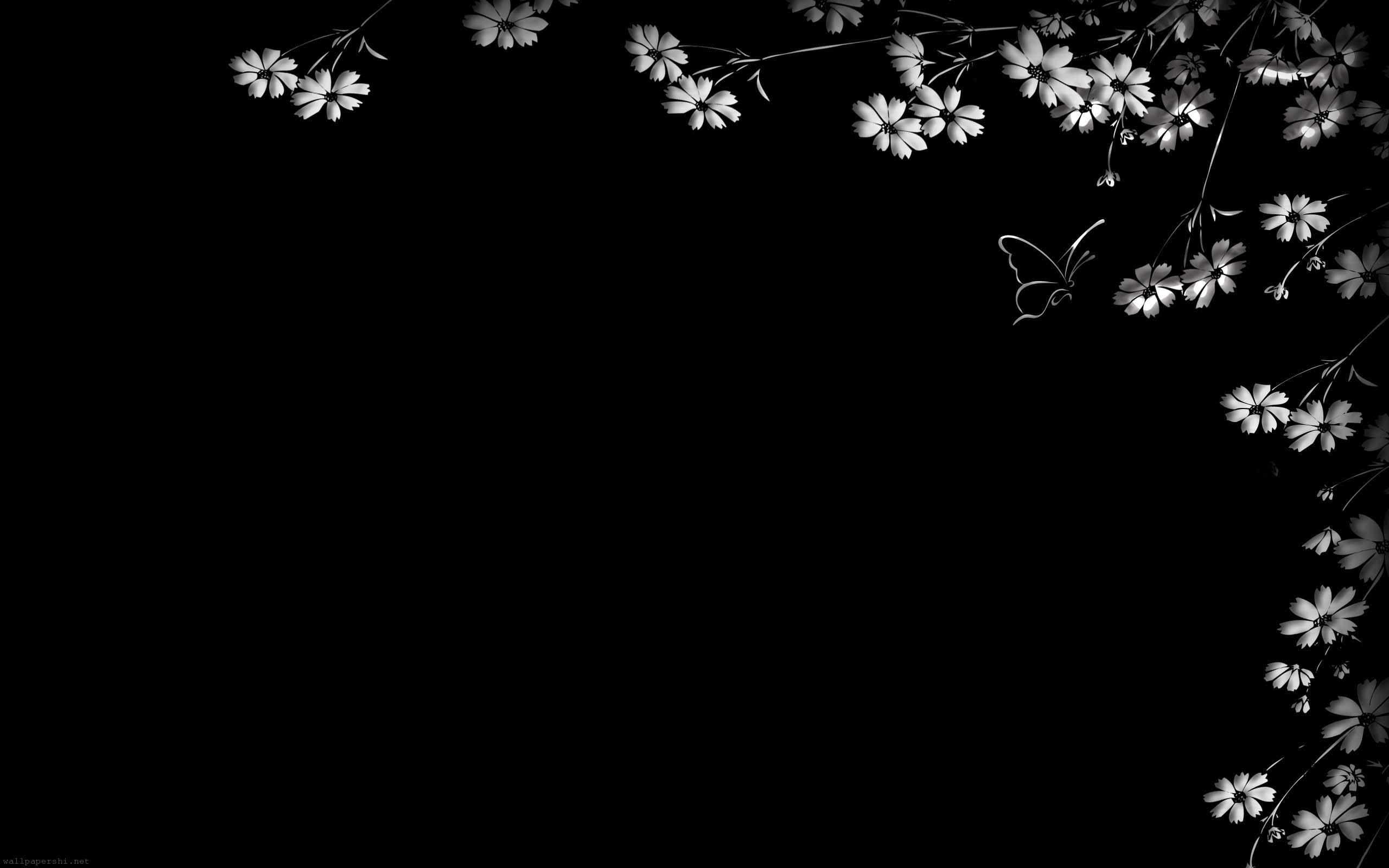 Black and white flower wallpaper