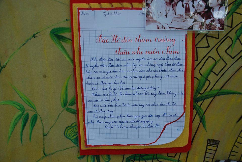 Hình ảnh mẫu báo tường bác hồ đến thăm trường thiếu nhi miền nam