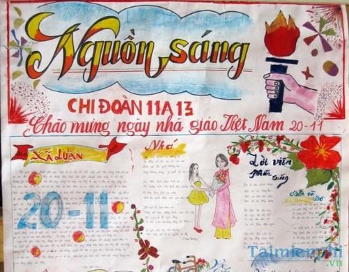 Mẫu báo tường chào mừng ngày nhà giáo Việt Nam