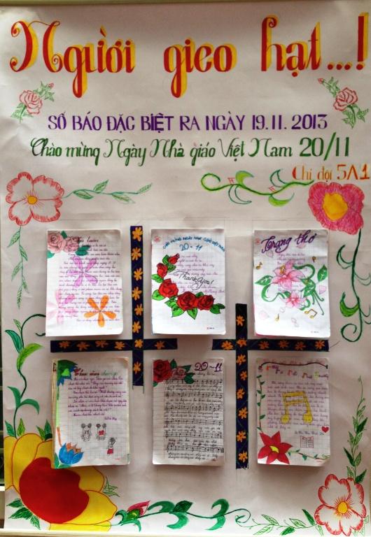 Mẫu báo tường người gieo hạt chào mừng ngày nhà giáo Việt Nam
