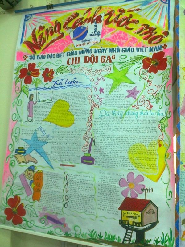 Mẫu trang trí bìa báo tường chào mừng ngày nhà giáo Việt Nam
