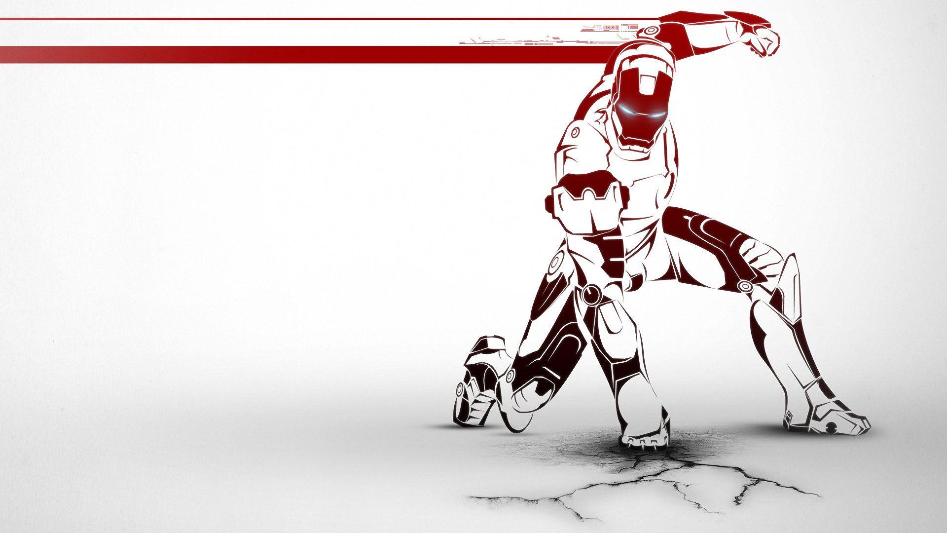 Iron man white wallpaper