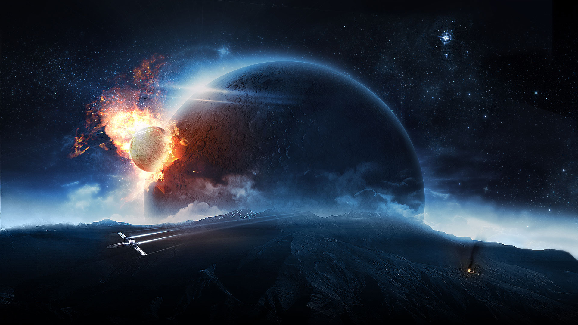Sci fi space battle wallpaper