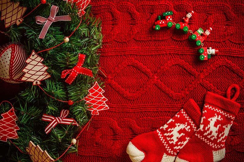 Trang trí mũ len bằng cây thông Noel Giáng sinh