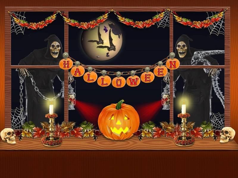 Trang trí của sổ Halloween kinh dị