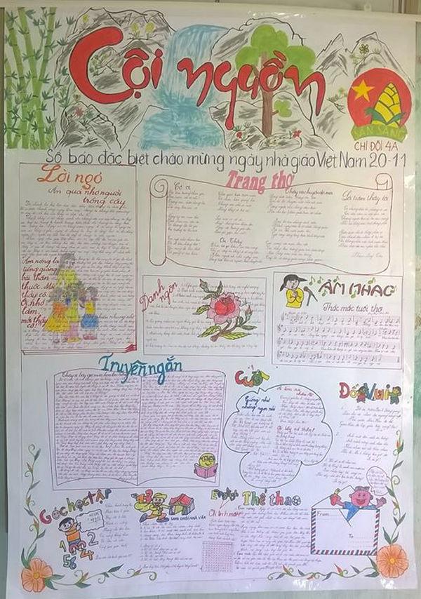 Báo tường 20-11 đẹp vẽ tay