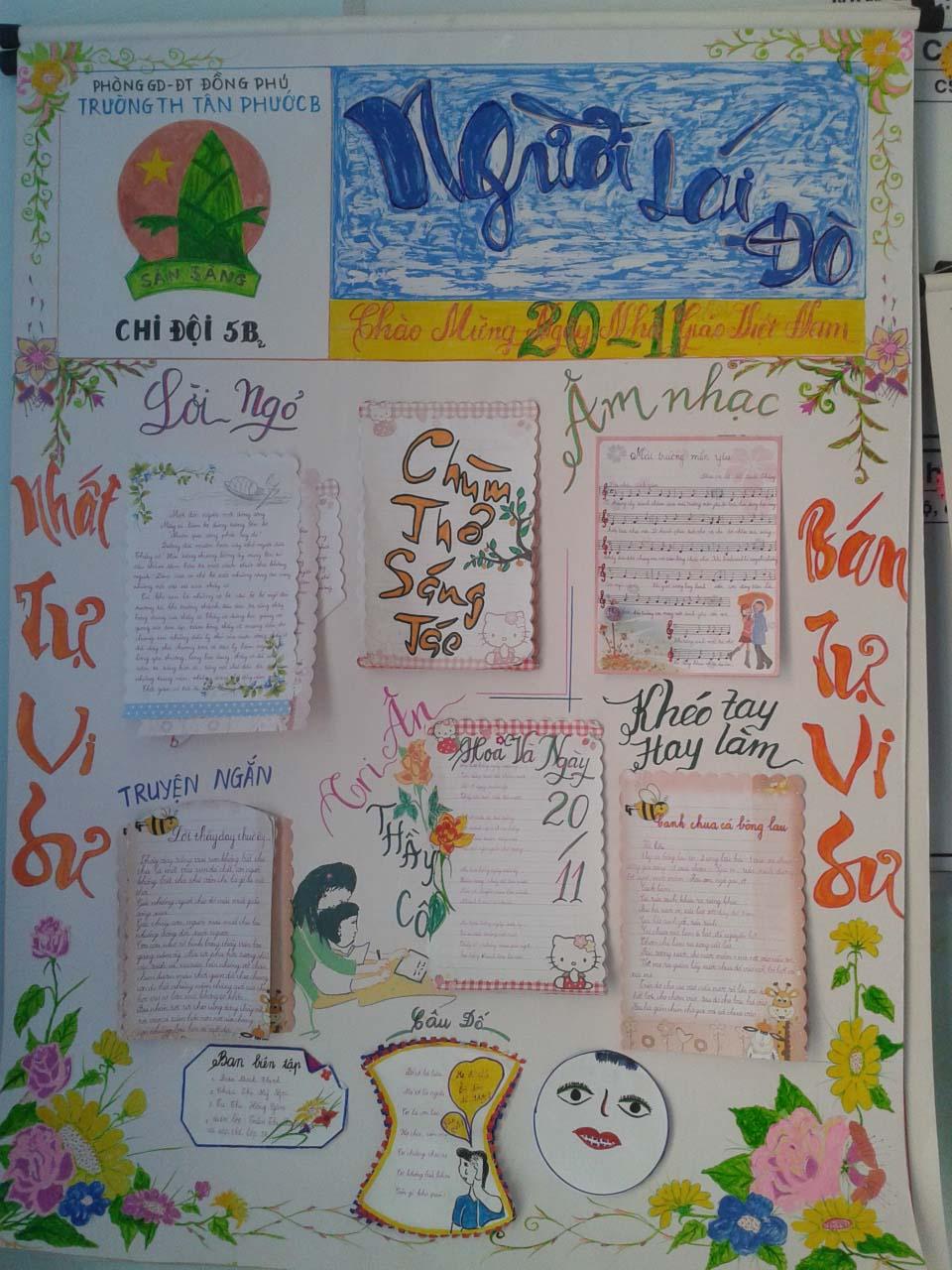 Báo tường đẹp tặng thầy cô ngày 20-11