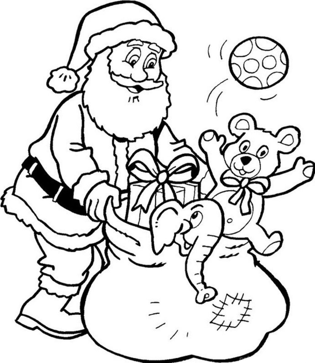 Hình ảnh ông già Noel santa đi phát quà cho bé tập tô màu