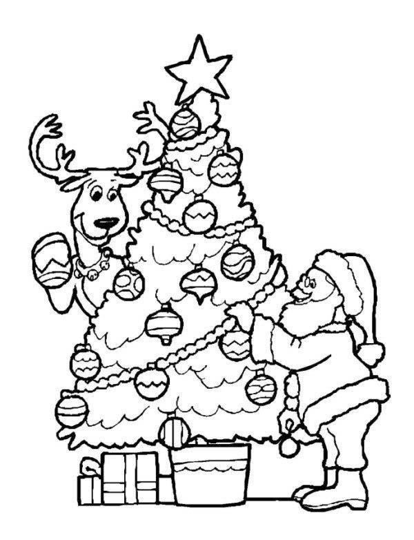 Hình ảnh tranh tô màu cho bé tập tô với ông già Noel bên chú tuần lộc và cây thông