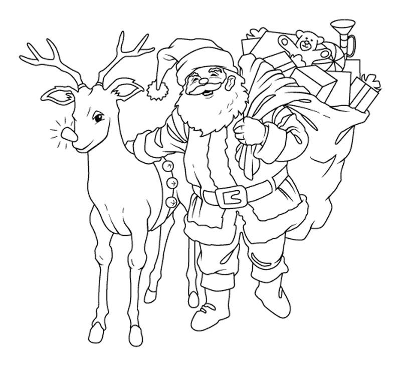 Hình ảnh tranh tô màu  chú tuần lộc của ông già Noel dành cho bé đẹp nhất