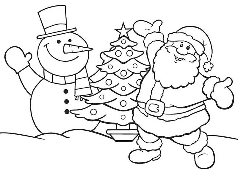 Hình ảnh tranh tô màu ông già Noel bên người tuyết cho bé