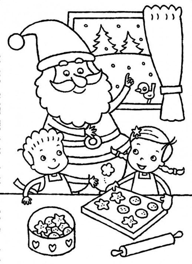 Hình ảnh tranh tô màu ông già Noel bên những chiếc bánh quy với những đứa trẻ đẹp nhất