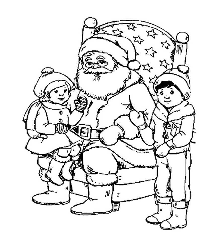 Hình ảnh tranh tô màu ông già Noel bên những đứa trẻ ngoan ngoãn
