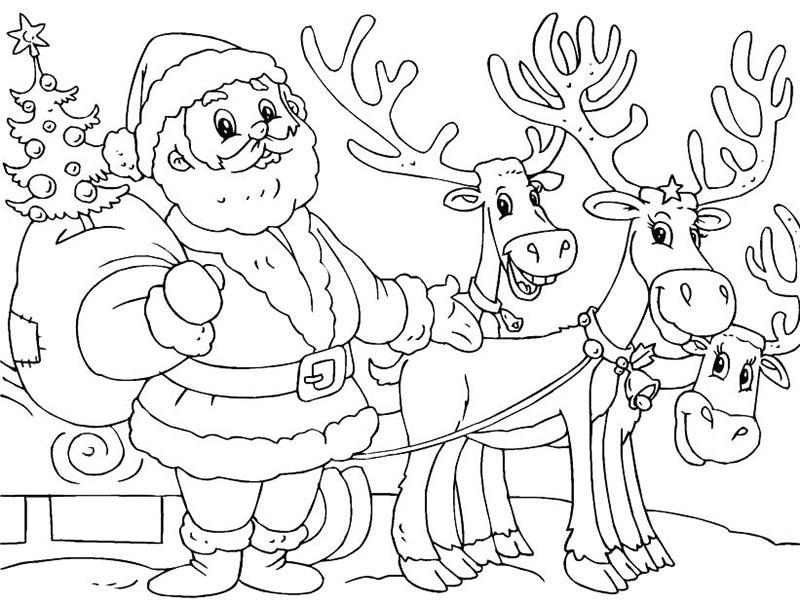Hình ảnh tranh tô màu ông già Noel  cho bé ngày Giáng sinh