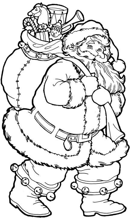 Hình ảnh tranh tô màu ông già Noel đi phát quà cho bé tập tô