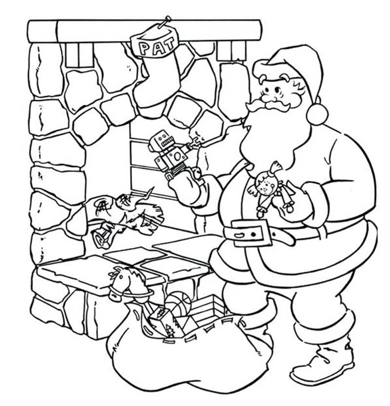 Tranh tô màu dành cho bé với hình ảnh ông già Noel bên những bao quà đẹp nhất