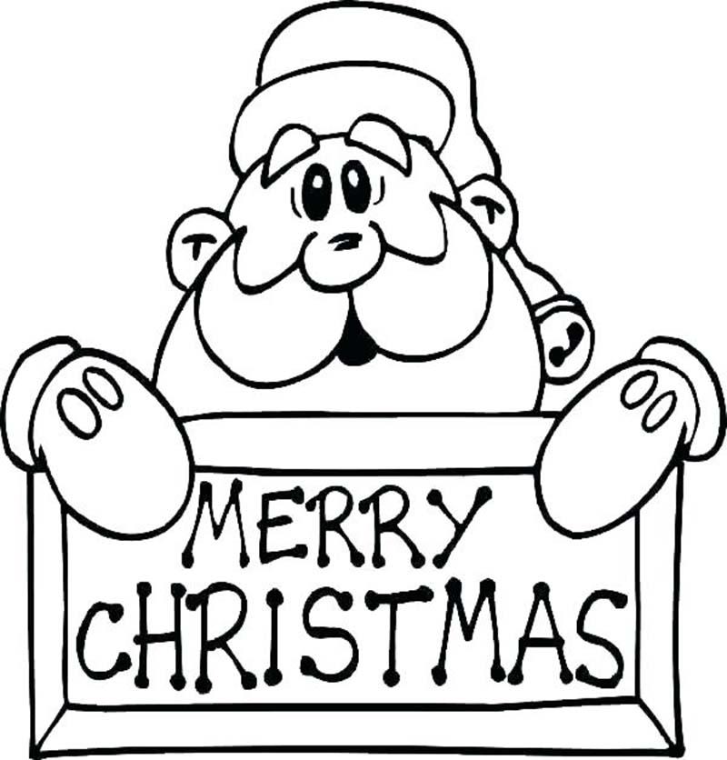 Tranh tô màu khuôn mặt ông già Noel với dòng chữ Merry Christmas đẹp nhất